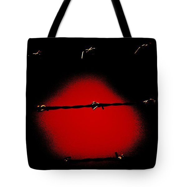 Black Barbed Wire Over Black And Blood Red Background Eerie Imprisonment Scene Tote Bag
