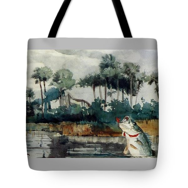 Tote Bag featuring the painting Black Bass Florida by Pg Reproductions