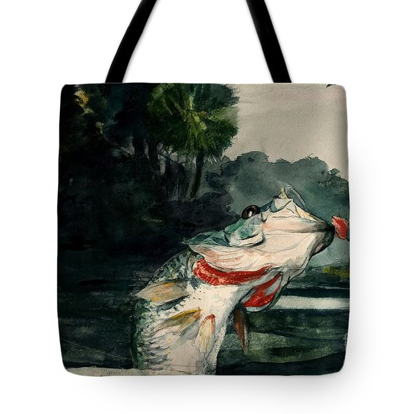 Tote Bag featuring the painting Black Bass by Pg Reproductions
