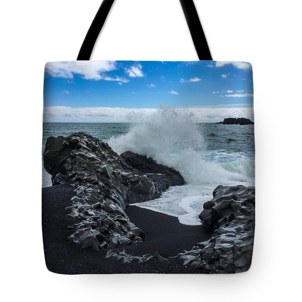 Tote Bag featuring the photograph Black Beach In Iceland by Chris Feichtner