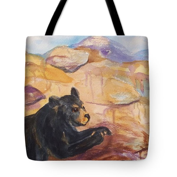 Black Bear Cub Tote Bag by Ellen Levinson