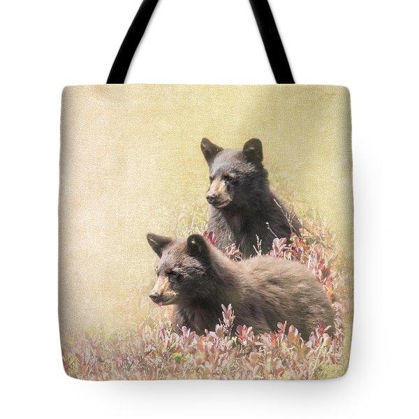 Black Bear Cubs Tote Bag by Angie Vogel