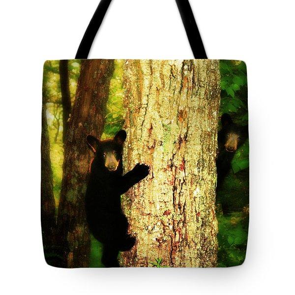 Black Bear Cubs Tote Bag by Gray  Artus