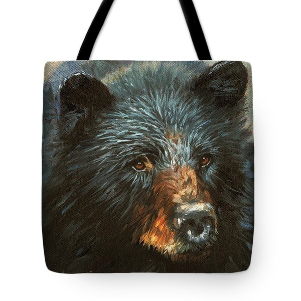 Tote Bag featuring the painting Black Bear by David Stribbling