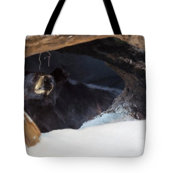 Tote Bag featuring the digital art Black Bear In Its Winter Den by Chris Flees