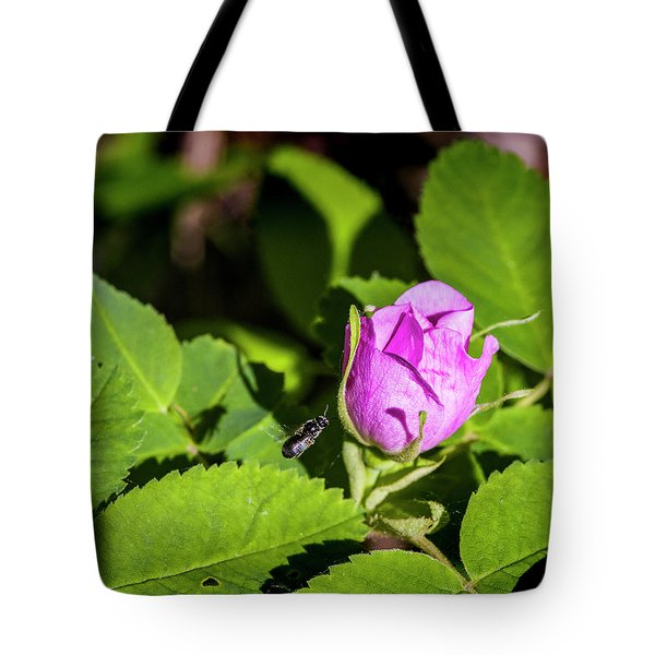Tote Bag featuring the photograph Black Bee On Approach by Darcy Michaelchuk