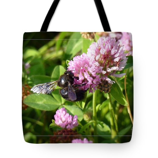 Black Bee On Small Purple Flower Tote Bag