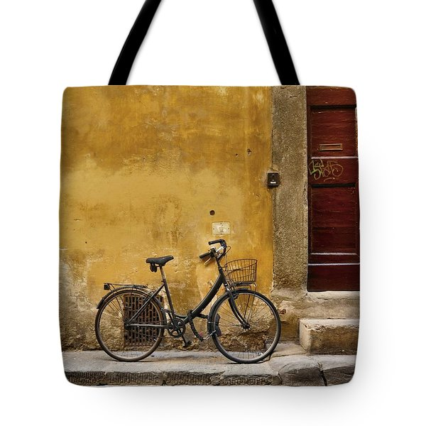 Black Bike Tote Bag by Patricia Strand
