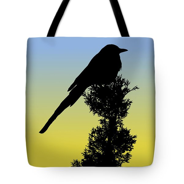 Black-billed Magpie Silhouette At Sunrise Tote Bag