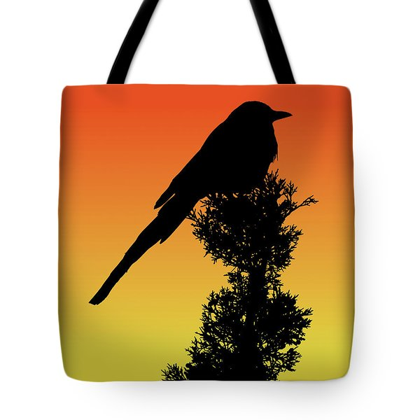 Black-billed Magpie Silhouette At Sunset Tote Bag