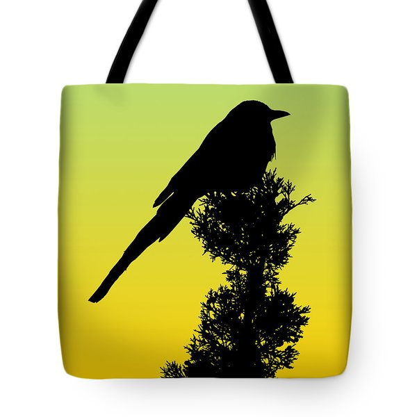 Black-billed Magpie Silhouette - Special Request Background Tote Bag
