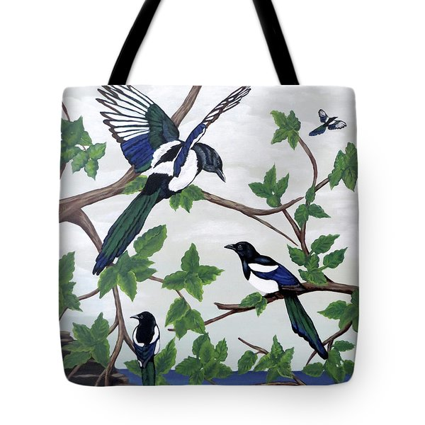 Tote Bag featuring the painting Black Billed Magpies by Teresa Wing