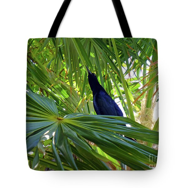 Tote Bag featuring the photograph Black Bird And Green Leaf by Francesca Mackenney