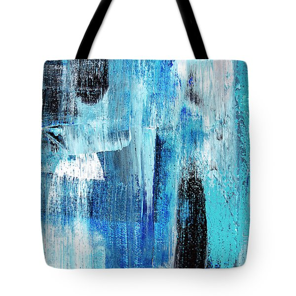 Tote Bag featuring the painting Black Blue Abstract Painting by Christina Rollo