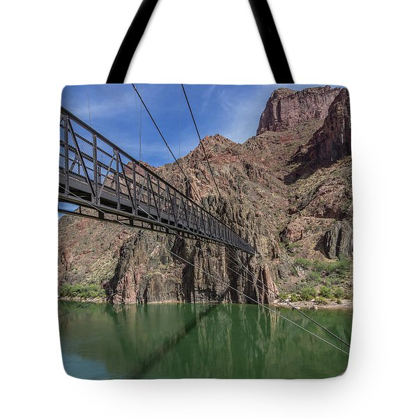Black Bridge Over The Colorado River At Bottom Of Grand Canyon Tote Bag