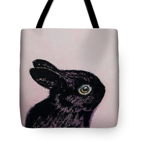 Black Bunny Tote Bag by Michael Creese
