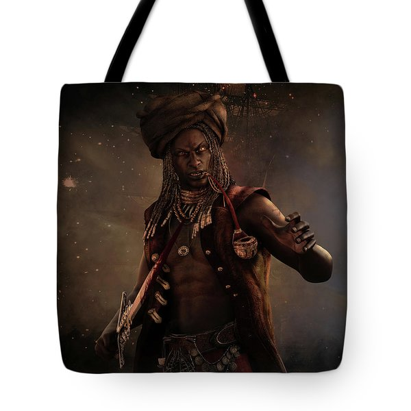 Tote Bag featuring the digital art Black Caesar Pirate by Shanina Conway