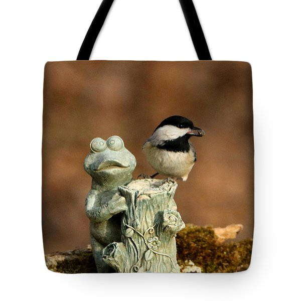 Black-capped Chickadee And Frog Tote Bag by Sheila Brown