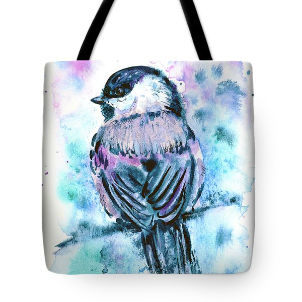 Tote Bag featuring the painting Black-capped Chickadee by Zaira Dzhaubaeva