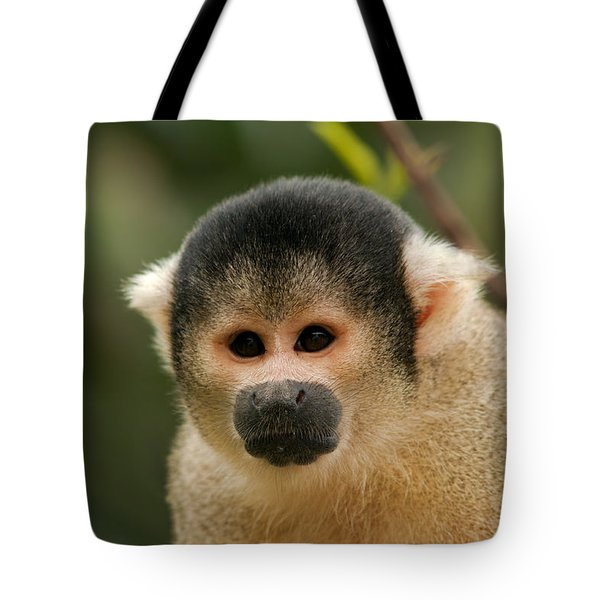 Black-capped Yellow Squirrel Monkey Portrait Tote Bag