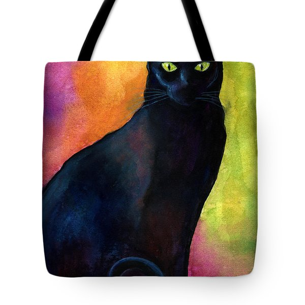 Black Cat 9 Watercolor Painting Tote Bag