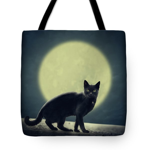 Black Cat And Full Moon Tote Bag