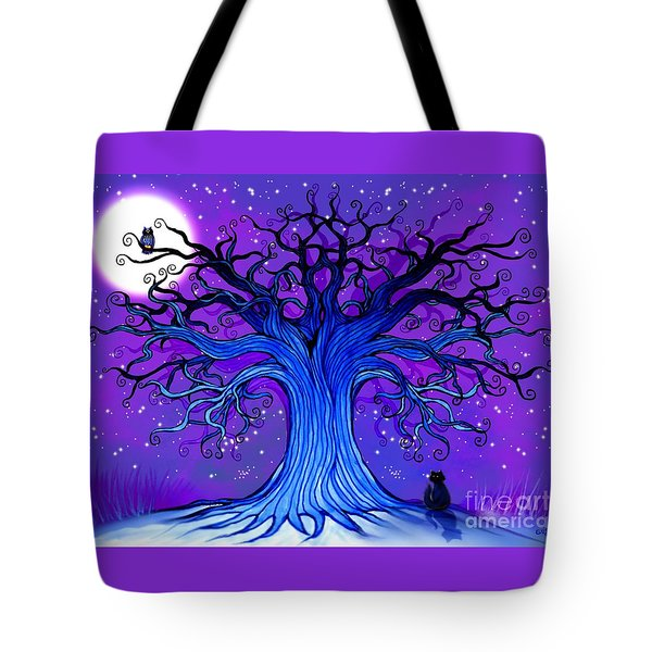 Tote Bag featuring the drawing Black Cat And Night Owl by Nick Gustafson
