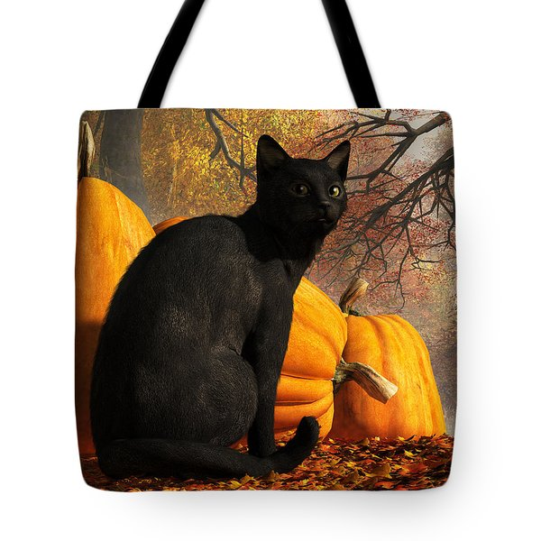 Black Cat At Halloween Tote Bag by Daniel Eskridge