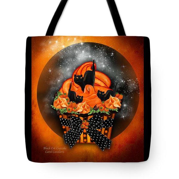 Black Cat Cupcake Tote Bag by Carol Cavalaris