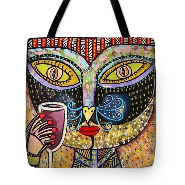 Black Cat Drinking Red Wine Tote Bag