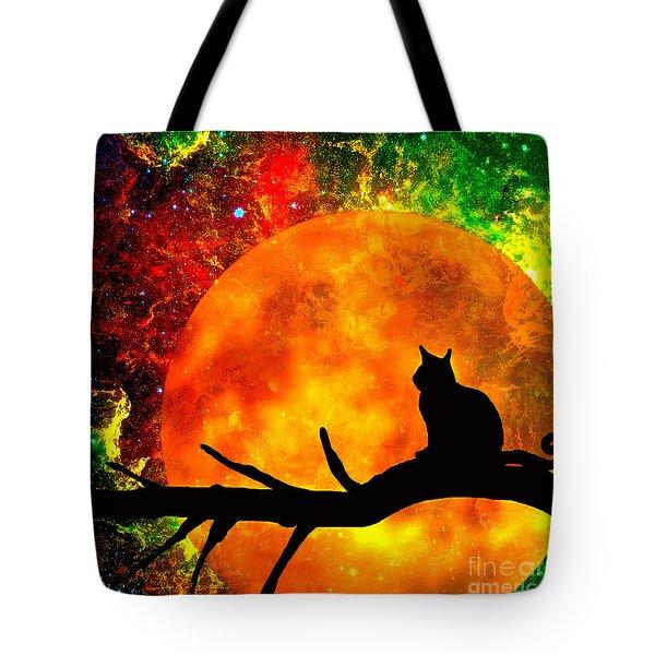 Black Cat Harvest Moon Tote Bag