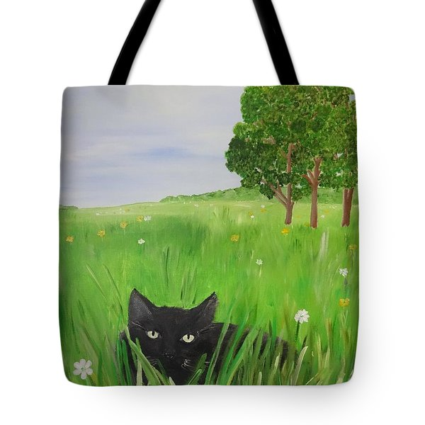 Black Cat In A Meadow Tote Bag