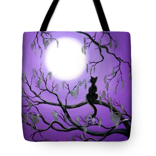 Black Cat In Mossy Tree Tote Bag