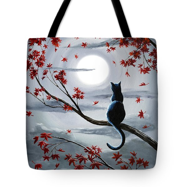 Black Cat In Silvery Moonlight Tote Bag