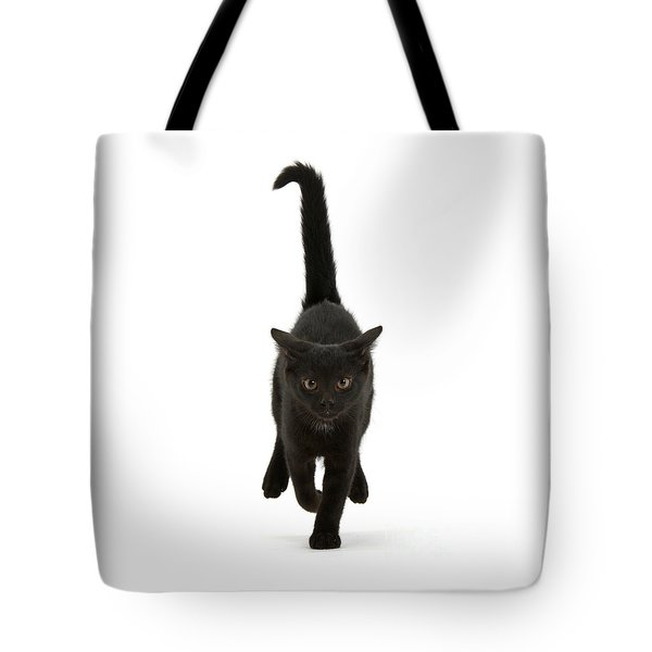 Black Cat On The Run Tote Bag