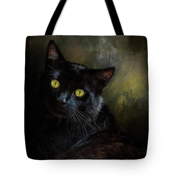 Black Cat Portrait Tote Bag