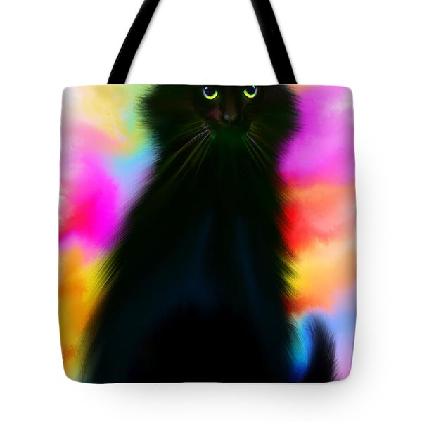 Black Cat Rainbow Sky Tote Bag