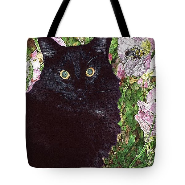 Black Cat Startled By A Bee Tote Bag