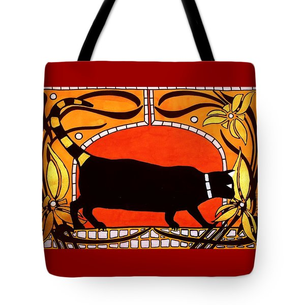 Tote Bag featuring the painting Black Cat With Floral Motif Of Art Nouveau By Dora Hathazi Mendes by Dora Hathazi Mendes
