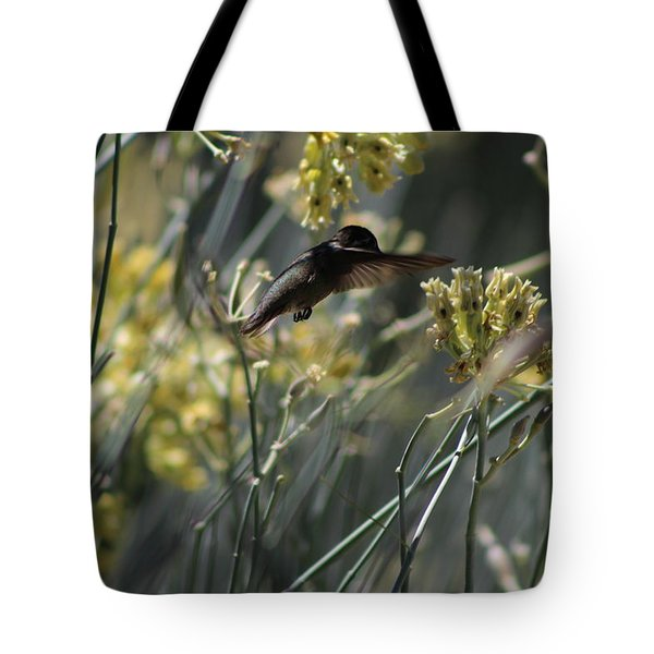 Black Chinned Hummingbird In Garden Tote Bag by Colleen Cornelius