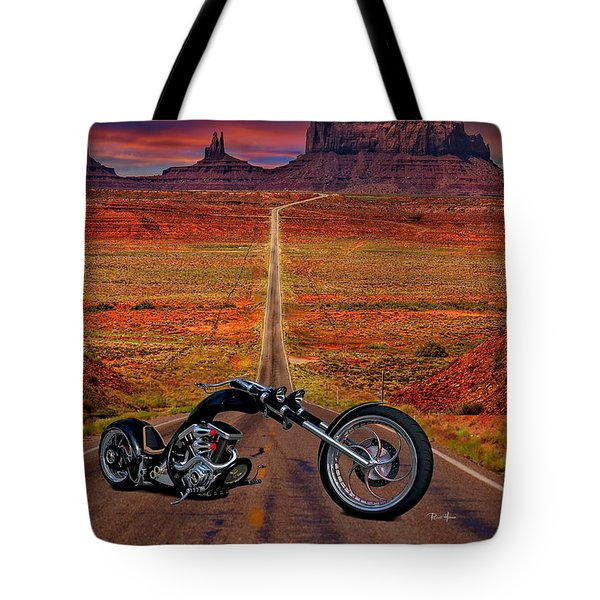 Black Chopper At Monument Valley Tote Bag