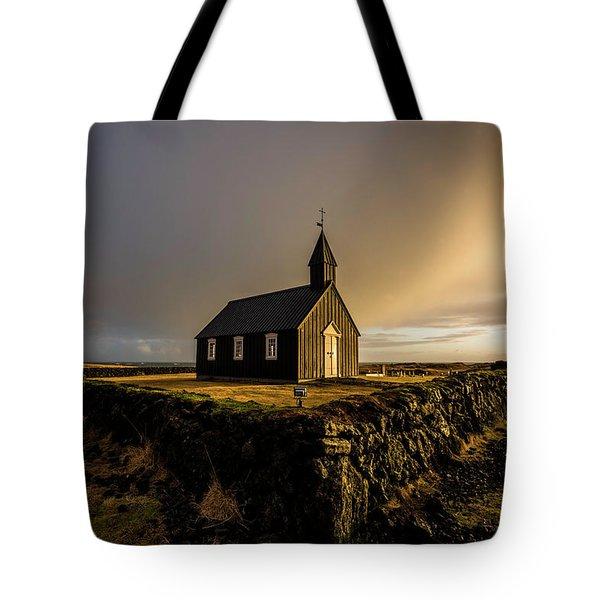 Black Church Golden Hour Tote Bag