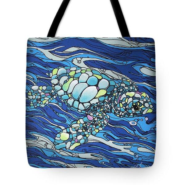 Black Contour Turtle Tote Bag