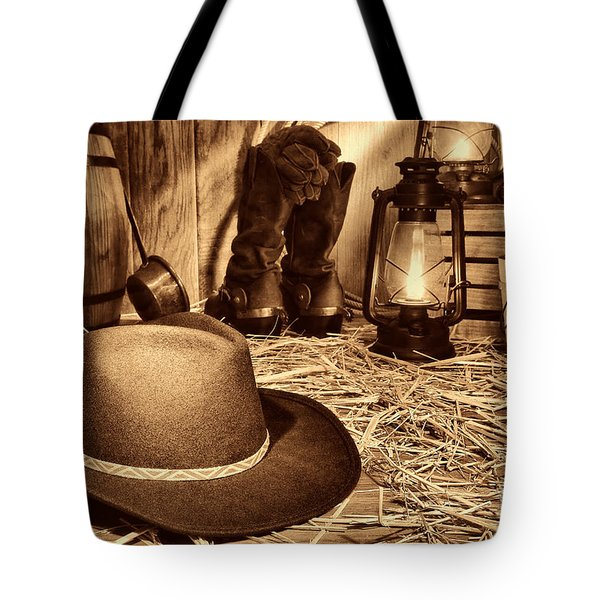 Black Cowboy Hat In An Old Barn Tote Bag