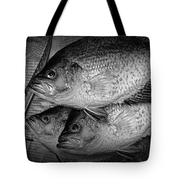 Black Crappie Panfish With Fish Filet Knife In Black And White Tote Bag