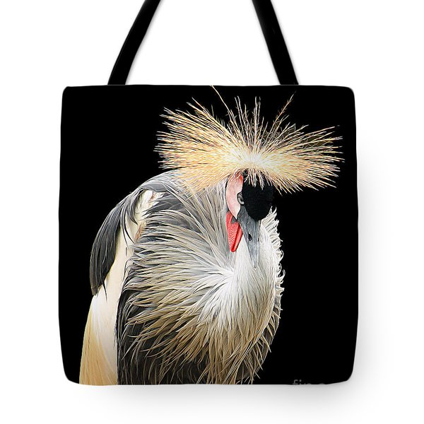 Black Crowned Crane Tote Bag