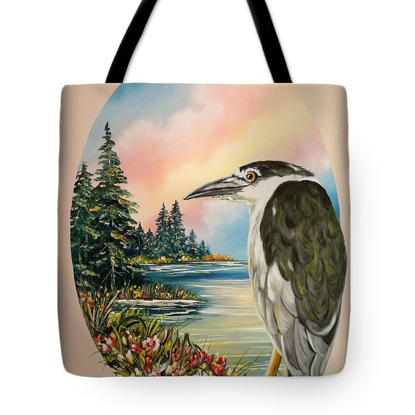 Black Crowned Heron Tote Bag