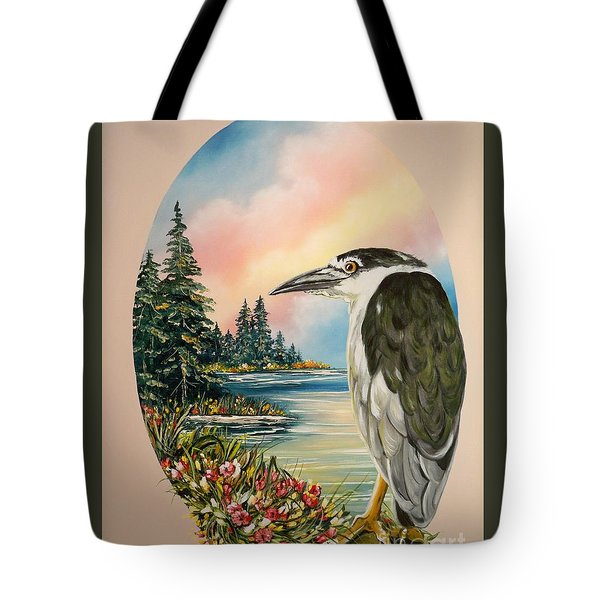 Flying Lamb Productions                     Black Crowned Heron Tote Bag