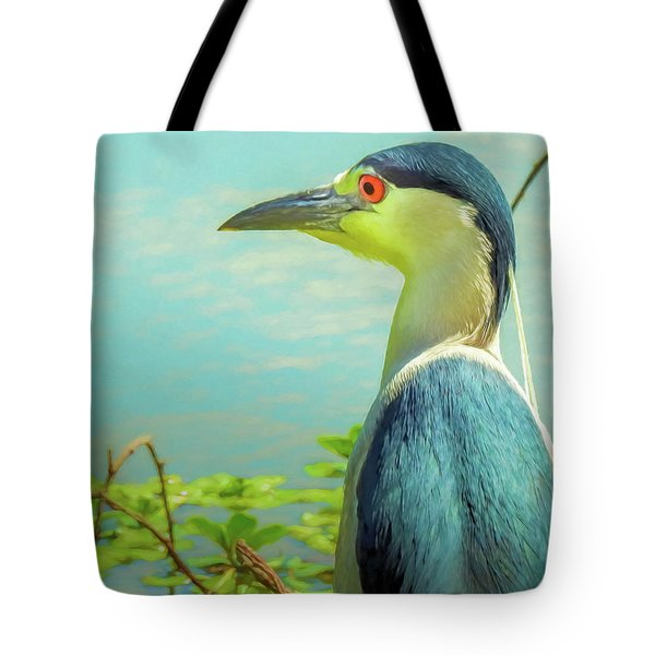 Black-crowned Night Heron Digital Art Tote Bag