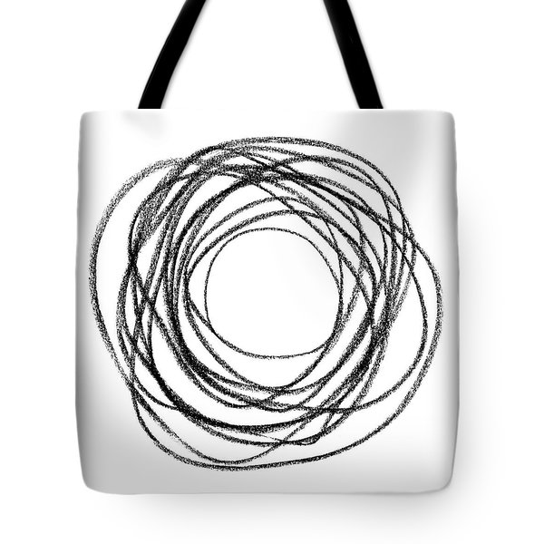 Black Doodle Circular Shape Tote Bag by GoodMood Art